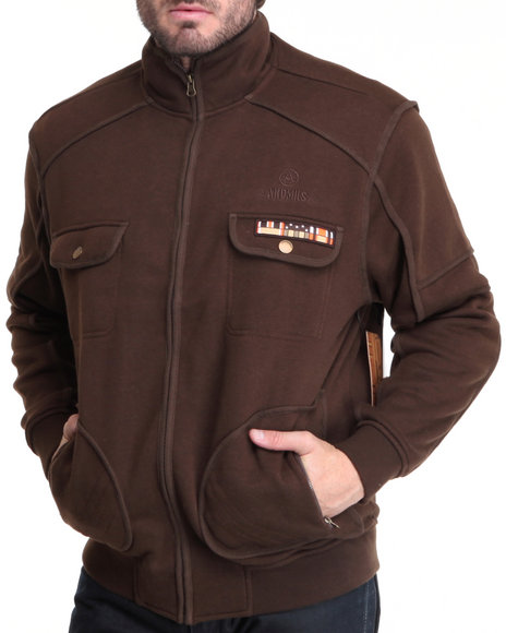 Akademiks Men Brown Private Ryan Military Fleece Jacket