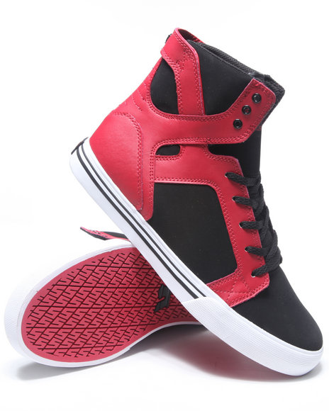 Supra Boys Black,Red Skytop Black Nubuck/Red Leather Sneakers (Kids)