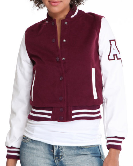 Fashion Lab Women Maroon Wool & Vegan Leather Mixed Varsity Jacket