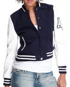 Women - Wool & Vegan leather mixed varsity jacket
