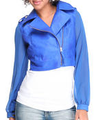 Outerwear - Fireworks chiffon sleeve motorcycle jacket w/vegan leather body