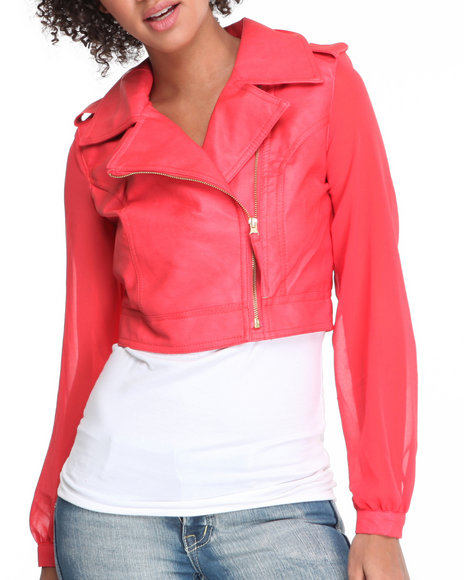 Fashion Lab Women Red Fireworks Chiffon Sleeve Motorcycle Jacket W/Vegan Leather Body