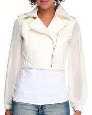 Fashion Lab - Fireworks chiffon sleeve motorcycle jacket w/vegan leather body