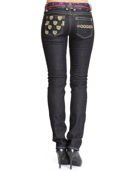 COOGI Women Black Coogi Belted Slim Jean