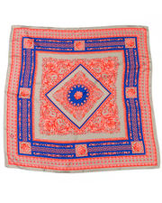 Accessories - Iconic Greek Key Print Red & Blue Silk Scarf