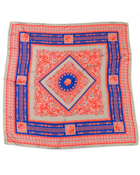 Versace - Iconic Greek Key Print Red & Blue Silk Scarf