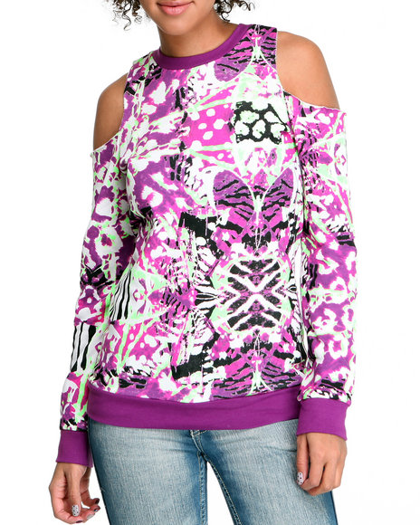 Rocawear Women Purple Butterfly Effect Cotton Fleece Cold Shoulder Sweater
