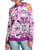 Sweaters - Butterfly Effect Cotton Fleece Cold Shoulder Sweater