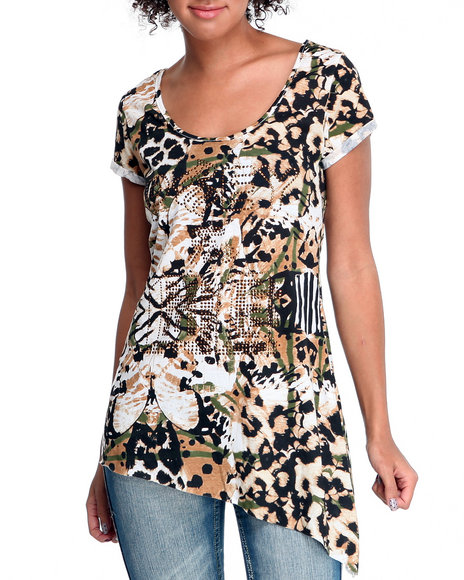 Rocawear Women Animal Print Prey For Me Asymmetrical Mixed Print Tee