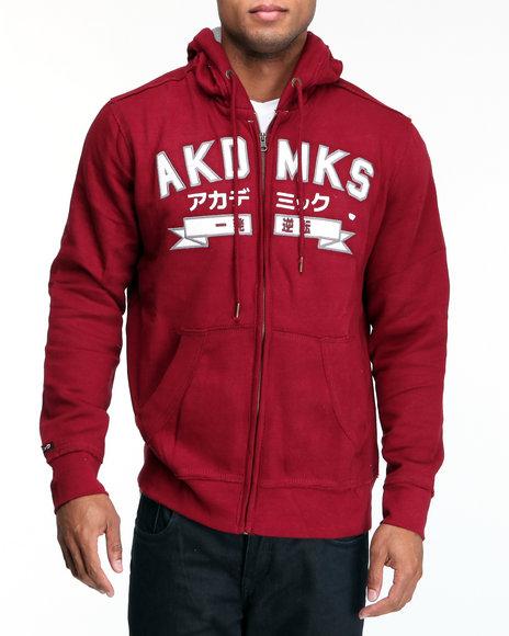 Akademiks Men Maroon Hiro (Wide Spread) Emb Full Zip Hoodie