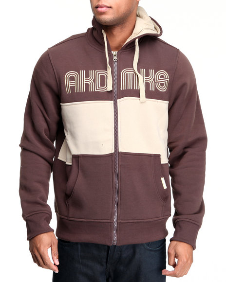 Akademiks Men Brown Coach Full Zip Fleece Jacket
