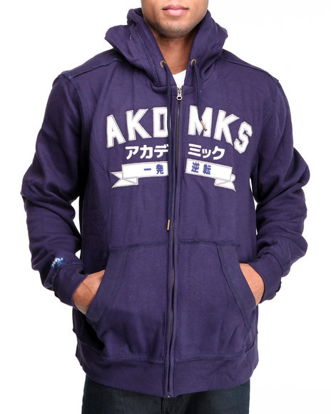 Akademiks Men Navy Hiro (Wide Spread) Emb Full Zip Hoodie