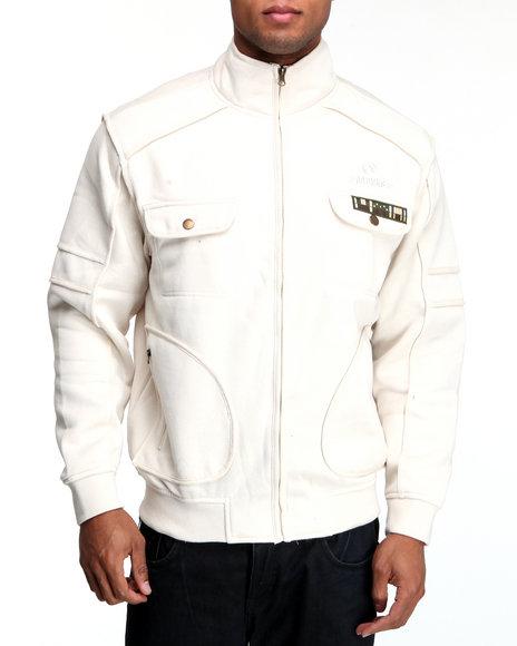 Akademiks Men Off White Private Ryan Military Fleece Jacket