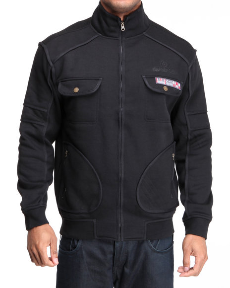 Akademiks Black,Black Private Ryan Military Fleece Jacket