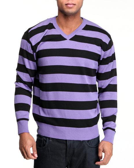 Akademiks Men Purple Fredrick Striped V-Neck Sweater