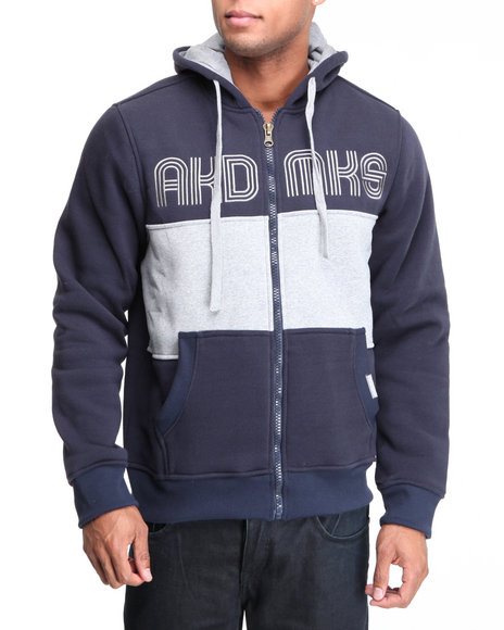 Akademiks Men Navy Coach Full Zip Fleece Jacket