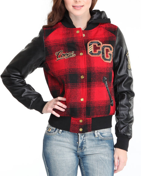 COOGI Women Red Coogi Varsity Jacket W/Hood