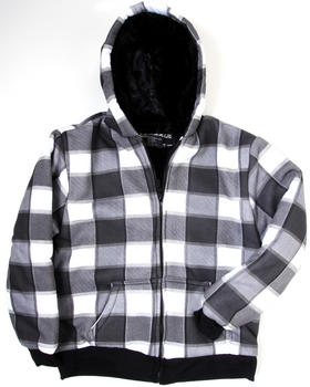 Arcade Styles - PLAID FLEECE HOODIE W/ FAUX FUR LINING (8-20)