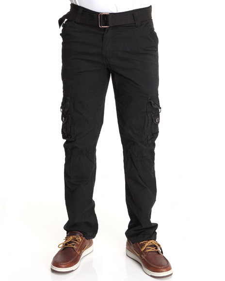 Basic Essentials Men Black Flap Pocket Premium Cargo Pants
