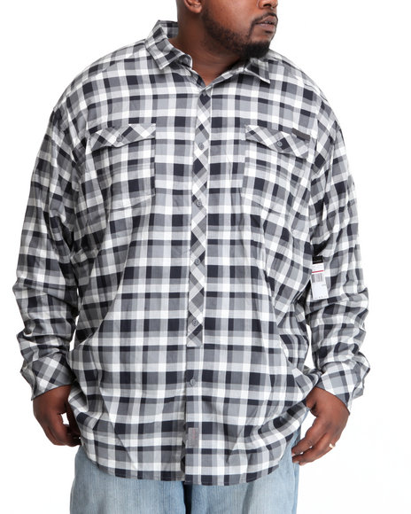 Sean John Men Black L/S Herringbone Check Button-Down (B&T)