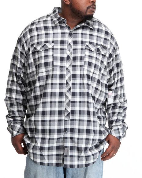 Sean John Men Black L/S Herringbone Check Button-Down (B&T)