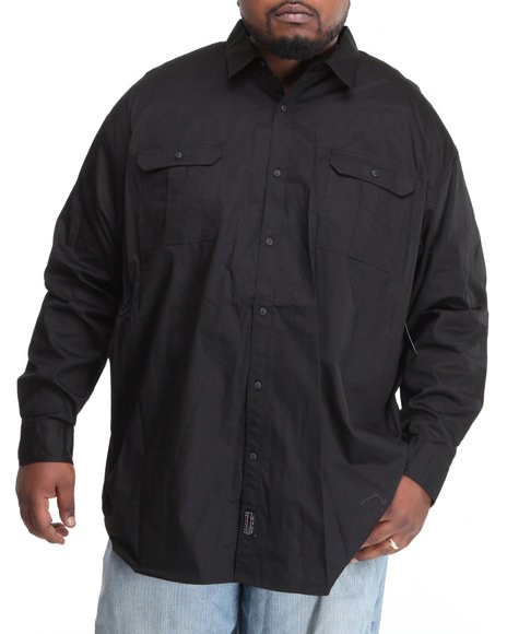 Sean John Men Black L/S Solid Button-Down W/ Logo Patch (B&T)