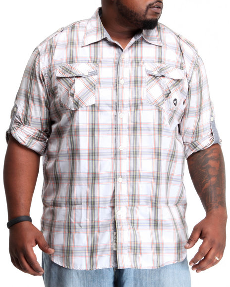 Akademiks Men Grey Fly Fisher Button Down Shirt (B&T)