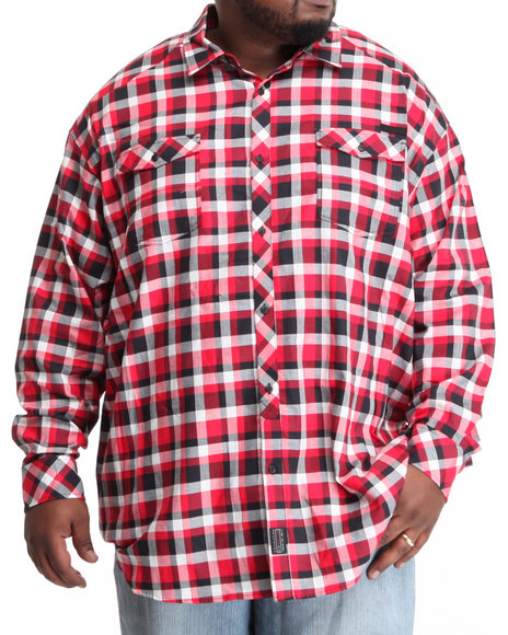 Sean John Men Red L/S Herringbone Check Button-Down (B&T)