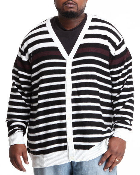Sean John Men Black Striped Cardigan (B&T)