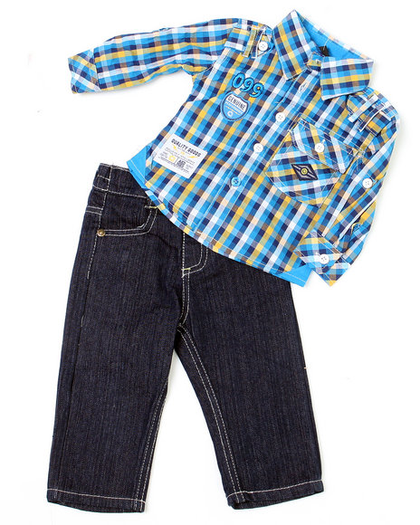 - 2-piece Jackson Plaid Woven Set (NB)