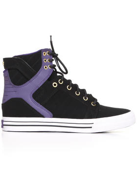 Supra - Skytop Black Nubuck/Purple Leather Sneakers