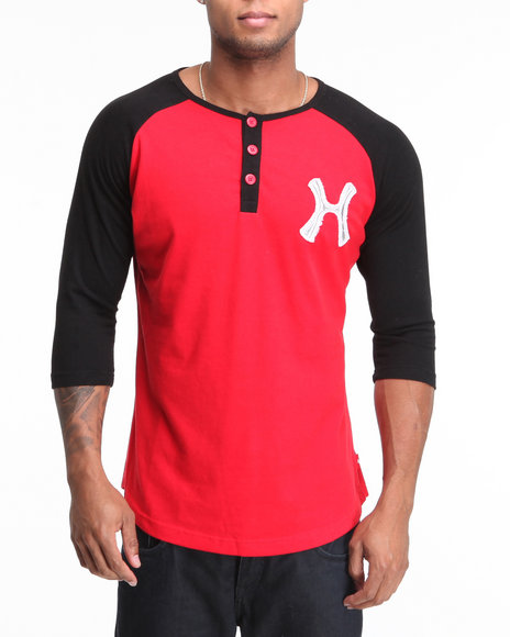 Hudson Liberty Rebels Raglan Henley Red