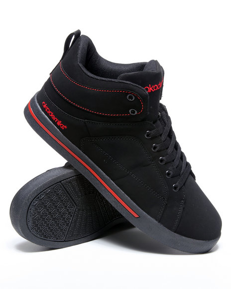 Akademiks Men Black,Red Round Toe Hightop Sneaker