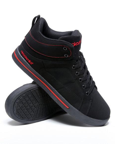 Akademiks Men Black,Red Round Toe Hightop Sneaker