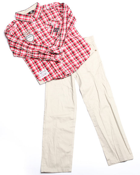 - 2pc Jackson Plaid Woven Set (4-7)