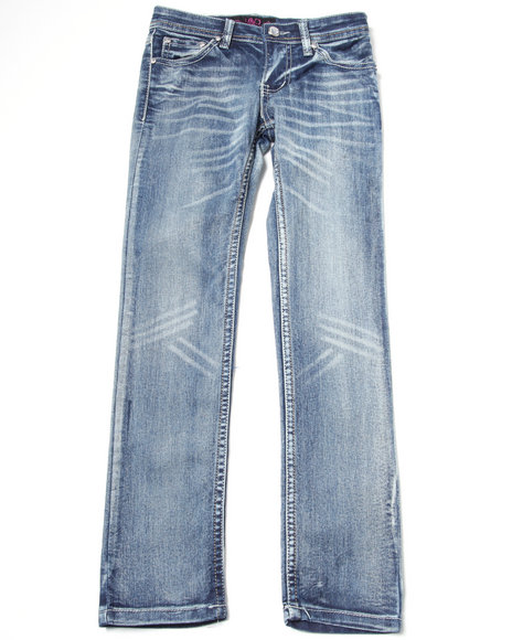 distressed jeans w/ pocket embellishment (7-16)