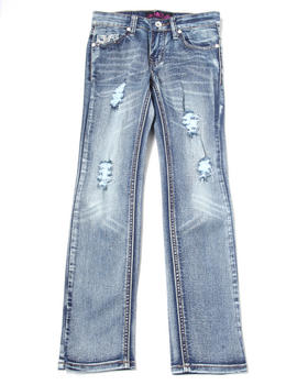 La Galleria - Distressed Jeans w/ Pocket Embellishment (7-16)