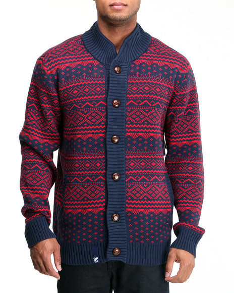 LRG Men Navy Uncle Norski Cotton Sweater