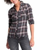 Polos & Button-Downs - Plaid top w/rolled up sleeves
