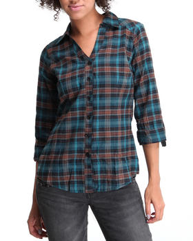 Basic Essentials - Plaid top w/rolled up sleeves