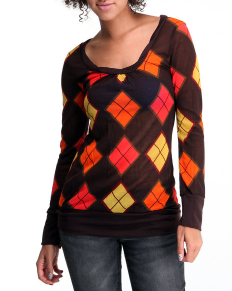 Basic Essentials Women Orange Argyle Print Long Sleeve Knit Top