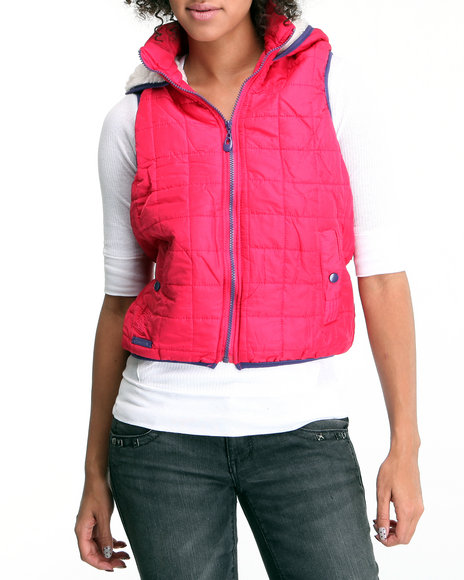 Basic Essentials - Women Pink Quilted Hooded Vest W/Faux Fur Lining