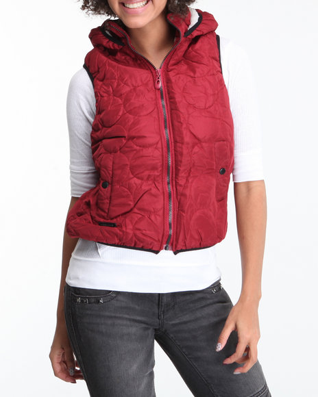 Basic Essentials - Women Red Quilted Hooded Vest W/Faux Fur Lining