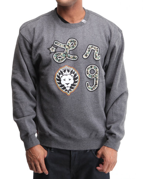 LRG Men Charcoal Iron Camo Lion Crewneck Sweatshirt