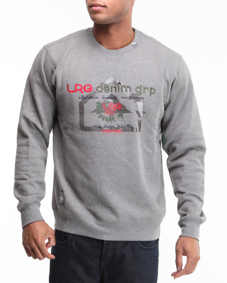 LRG Men Charcoal Very Denim Friendly Crewneck Sweatshirt