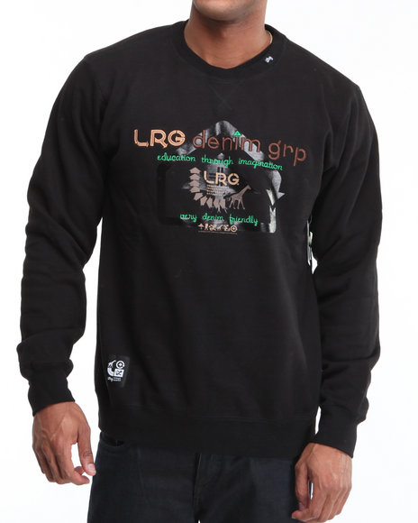 LRG Men Black Very Denim Friendly Crewneck Sweatshirt