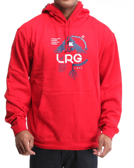 LRG Men Red Ground Up Pullover Hoodie