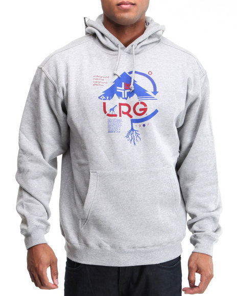 Lrg Men Grey Ground Up Pullover Hoodie