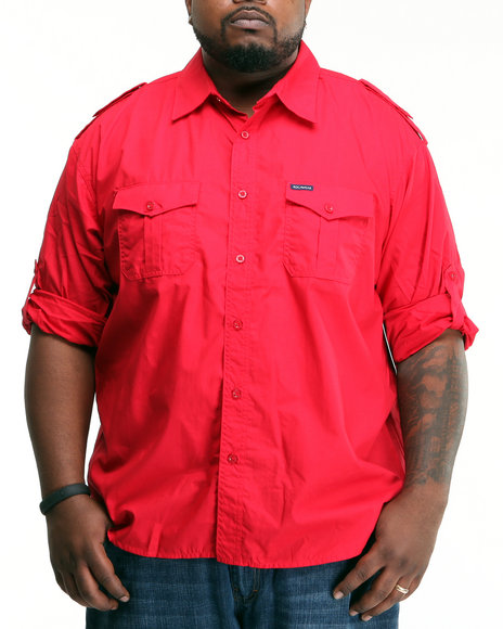 Rocawear Men Red Volume I Basic L/S Button-Down (B&T)