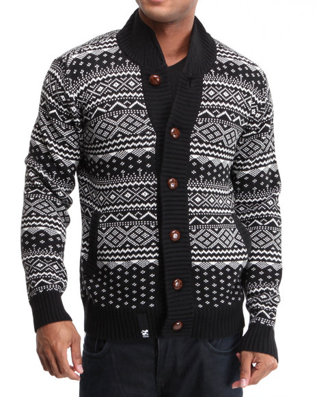 LRG Men Black Uncle Norski Cotton Sweater